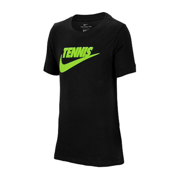Nike Court Dri-Fit Graphic Tennis T-Shirt (Boy's) - Black/Volt-Tops- Canada Online Tennis Store Shop