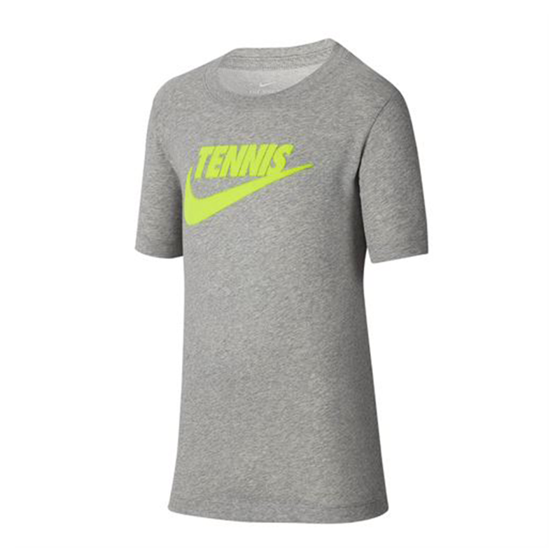 Nike Court Dri-Fit Graphic Tennis T-Shirt (Boy's) - Dk Grey Heather/Volt-Tops- Canada Online Tennis Store Shop
