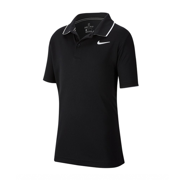 Nike Court Dri-Fit Tennis Polo (Boy's) - Black/White-Tops- Canada Online Tennis Store Shop