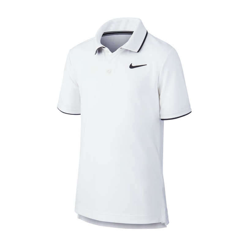 Nike Court Dri-Fit Tennis Polo (Boy's) - White/Black-Tops- Canada Online Tennis Store Shop