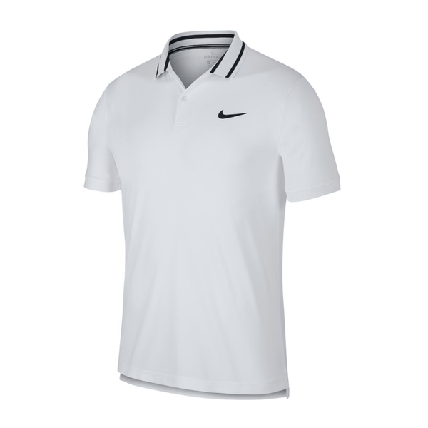 Nike Court Dri-Fit Tennis Polo (Men's) - White/Black/Black-Tops- Canada Online Tennis Store Shop