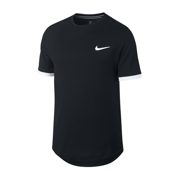 Nike Court Dri-Fit Tennis Top (Boy's) - Black/White-Tops- Canada Online Tennis Store Shop