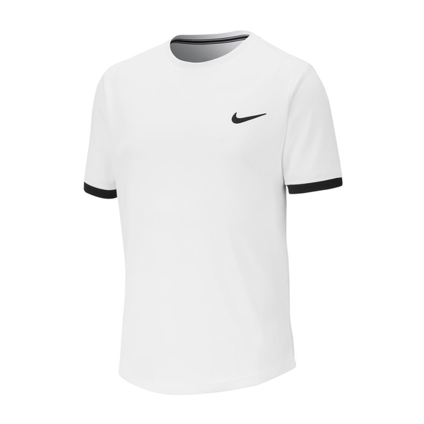 Nike Court Dri-Fit Tennis Top (Boy's) - White/Black-Tops- Canada Online Tennis Store Shop