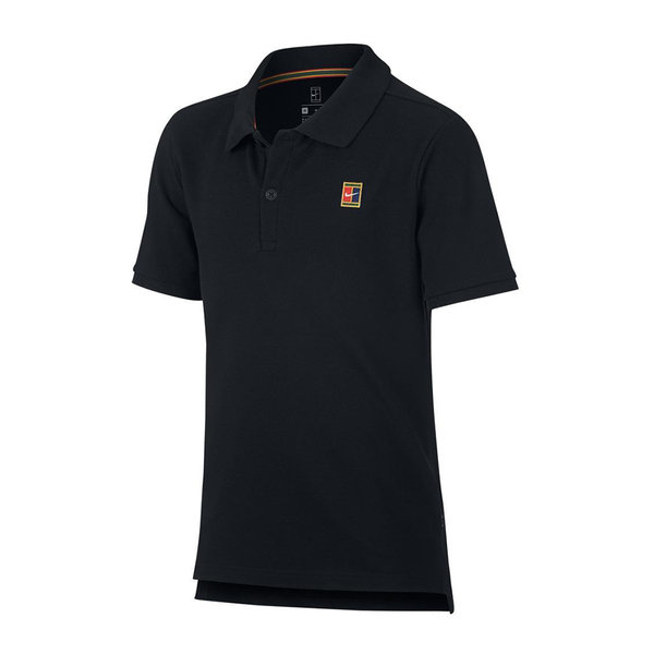 Nike Court Heritage Tennis Polo (Boy's) - Black-Tops- Canada Online Tennis Store Shop