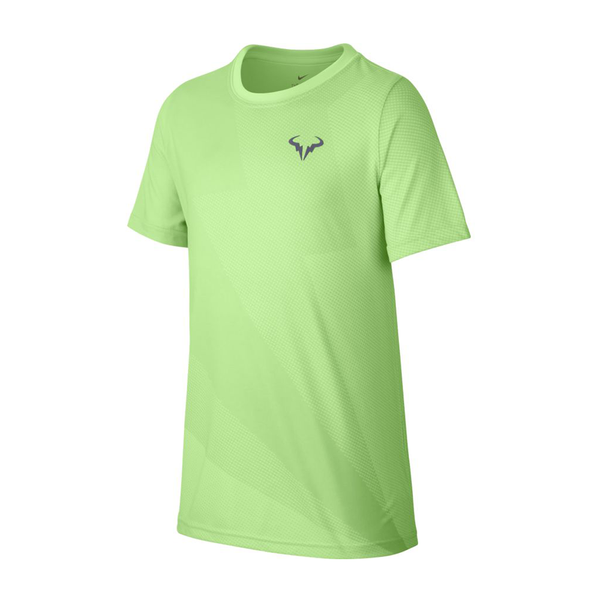 Nike Court Rafa T-Shirt (Boy's) - Barely Volt/Light Carbon-Tops- Canada Online Tennis Store Shop