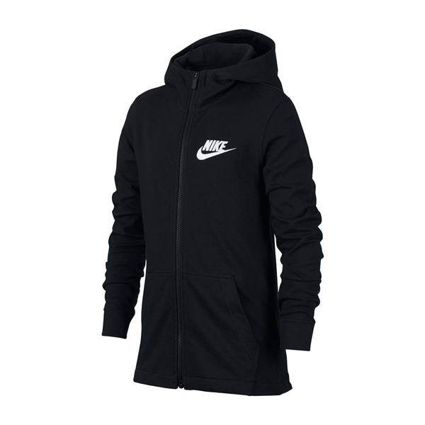 Nike Sportswear Full Zip Hoodie (Boy's) - Black/White-Tops- Canada Online Tennis Store Shop