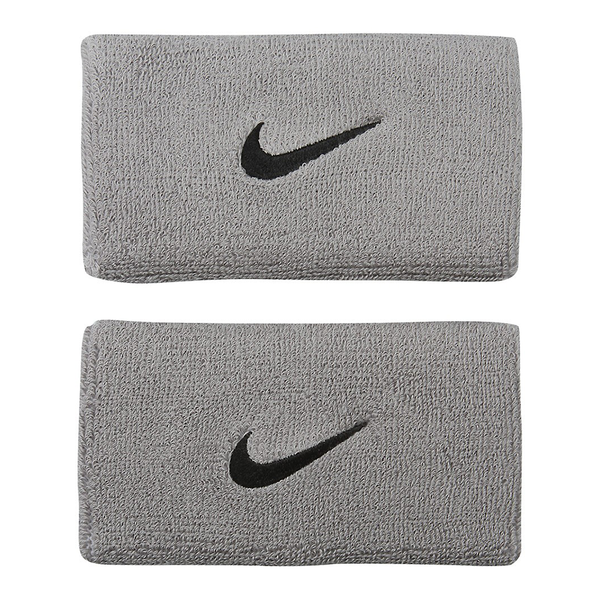 Nike Swoosh Wristbands Doublewide - Grey/Black-Wristbands- Canada Online Tennis Store Shop