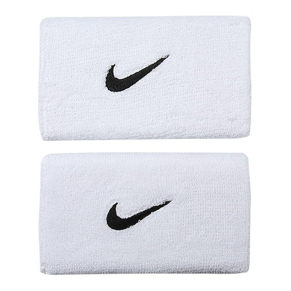 Nike Swoosh Wristbands Doublewide - White/Black-Wristbands- Canada Online Tennis Store Shop