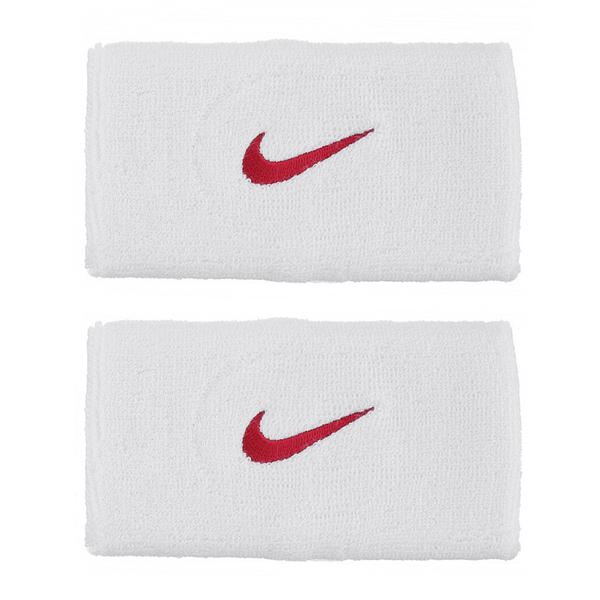 Nike Swoosh Wristbands Doublewide - White/Red-Wristbands- Canada Online Tennis Store Shop