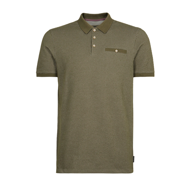 Ted Baker Dya Textured Cotton Polo Shirt (Men's) - Khaki-Tops- Canada Online Tennis Store Shop