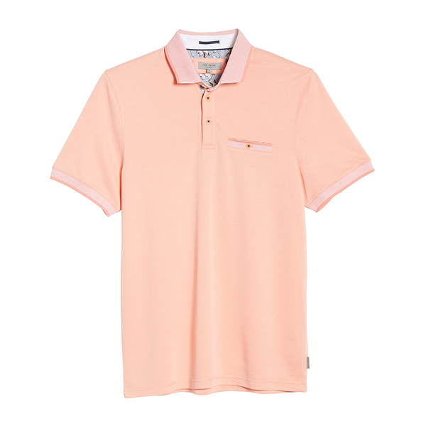Ted Baker Frog Flat Knit Polo (Men's) - Coral-Tops- Canada Online Tennis Store Shop