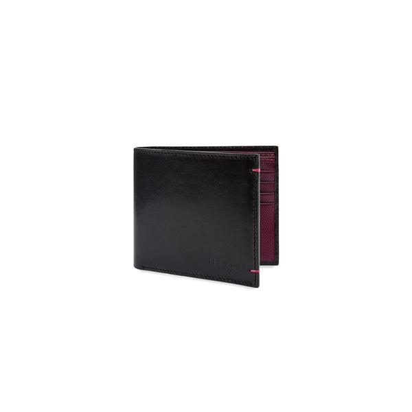 Ted Baker Lander Contrast Internals Bifold Leather Wallet - Black-Wallet- Canada Online Tennis Store Shop