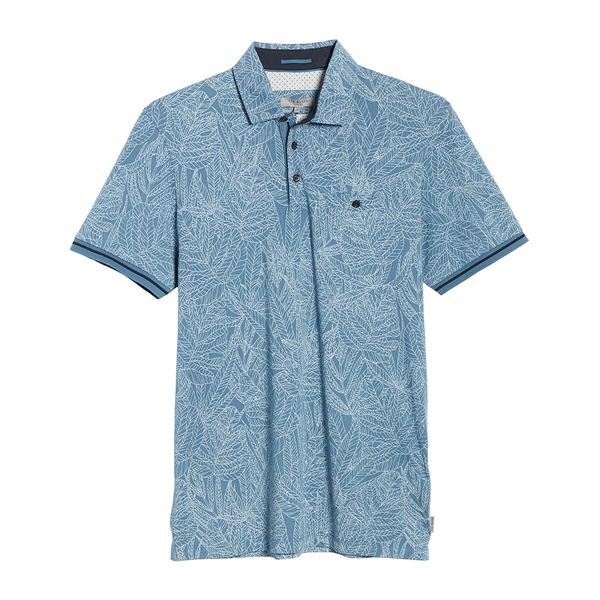 Ted Baker Leaf Print Cotton Polo (Men's) - Mid Blue-Tops- Canada Online Tennis Store Shop