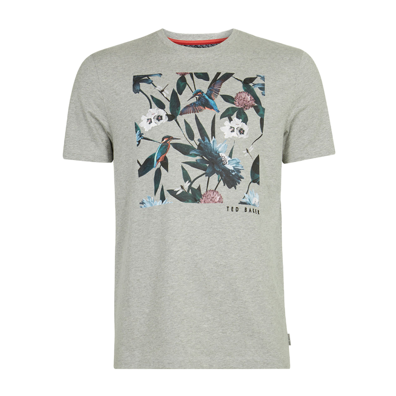 Ted Baker Litall Graphic T-Shirt (Men's) - Grey Marl-Tops- Canada Online Tennis Store Shop