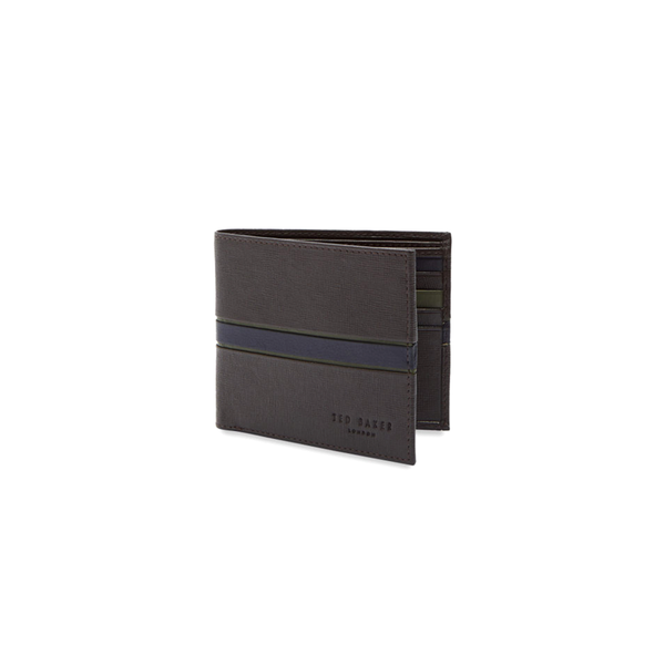 Ted Baker Musta Striped Leather Bifold Wallet - Chocolate-Wallet- Canada Online Tennis Store Shop