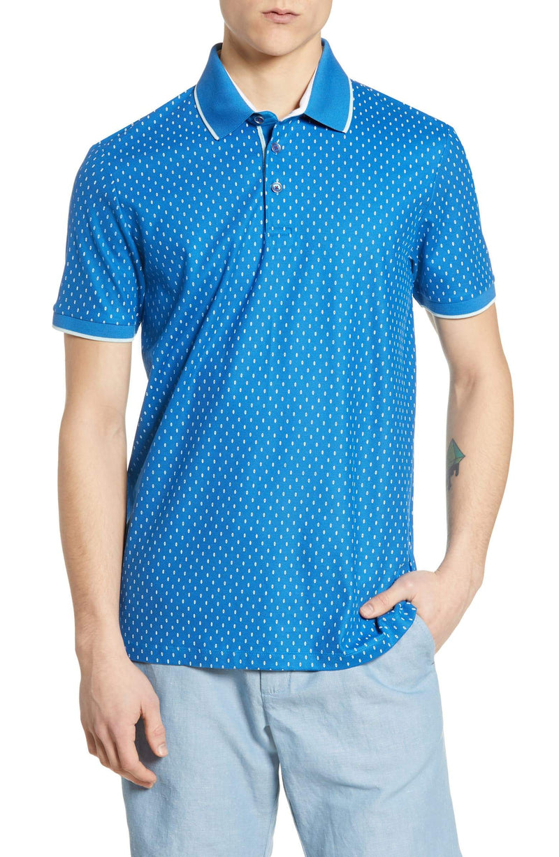 Ted Baker Toff Geo Printed Polo (Men's) - Bright Blue-Tops- Canada Online Tennis Store Shop
