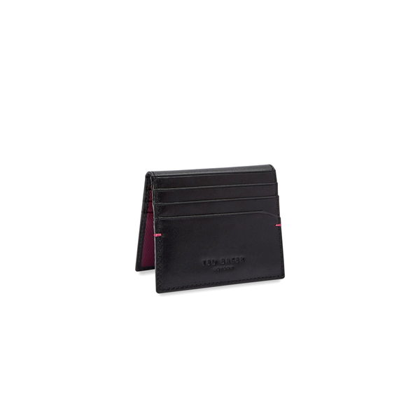 Ted Baker Wooster Contrast Internals Leather Card Holder - Black-Wallet- Canada Online Tennis Store Shop