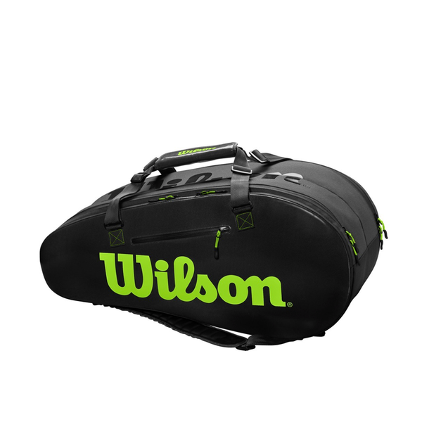 Wilson Super Tour 2 Compartment Large 9 Pack Bag - Black/Green-Bags- Canada Online Tennis Store Shop