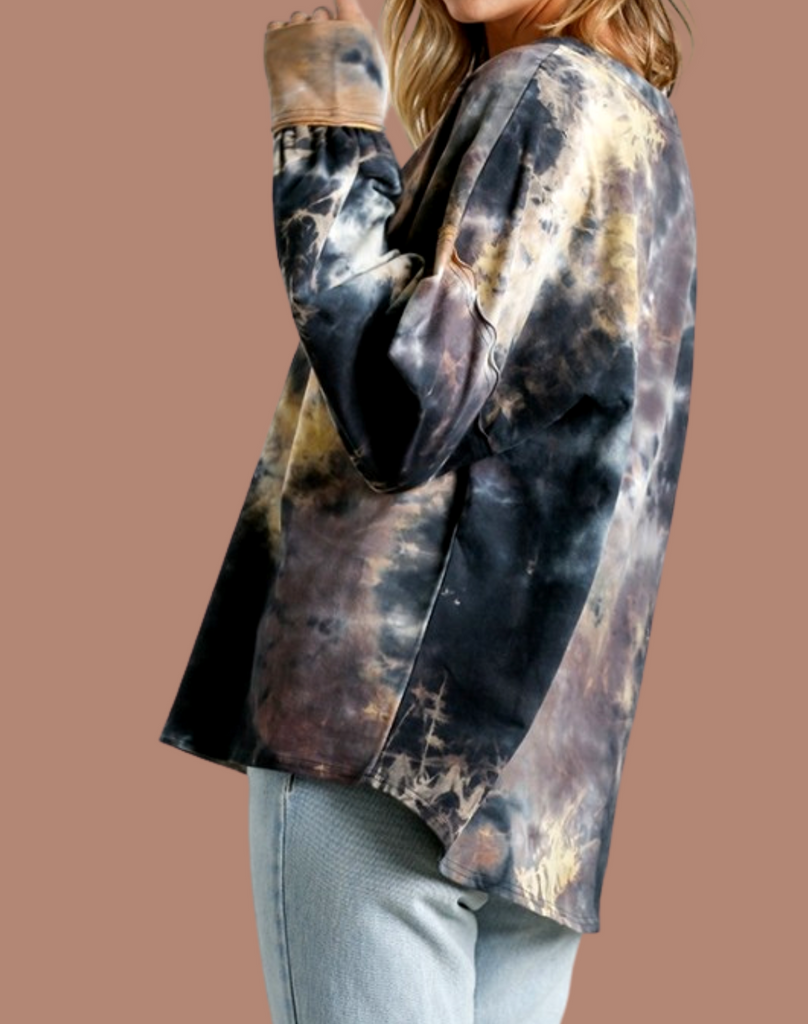 Middle Of The Mystery Tie-Dye Long Sleeve (Gun Metal)