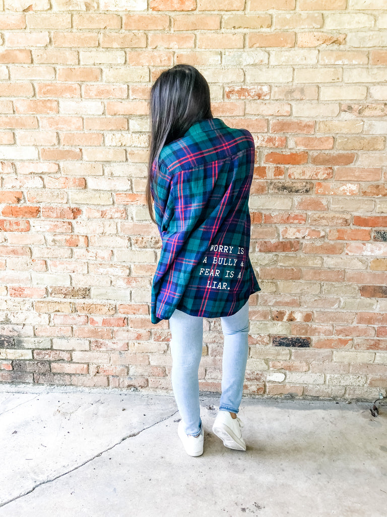 Worry Is a Bully Flannel - (3XL)