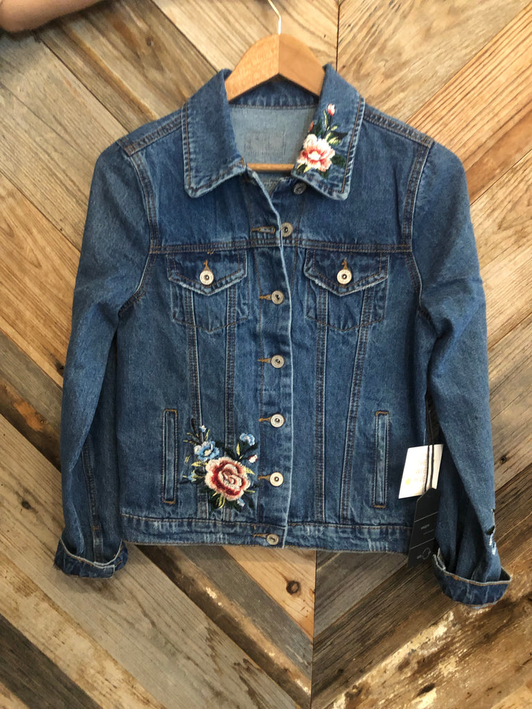 Blooming Embroidered Denim Jacket