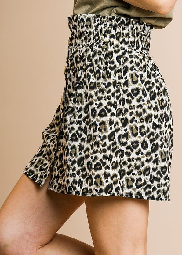 Animal Print High Waist Button Front Mini Skirt with Pockets