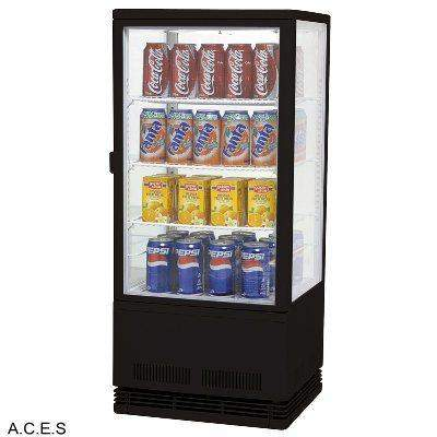 BROMIC Countertop Flat Glass Display Chiller- 78L- Black