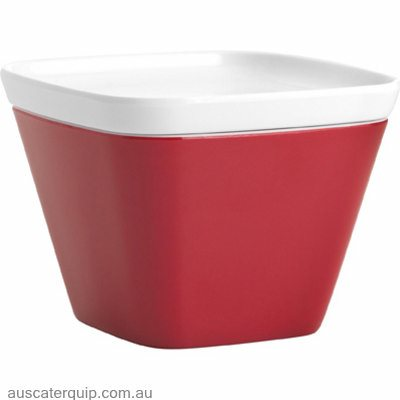 JAB GELATO-RED/WHITE SQUARE BOWL W/LID (STS0977)