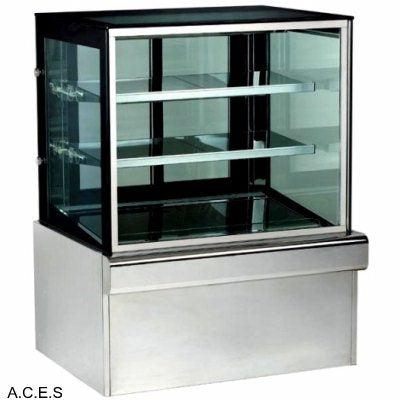 GREENLINE REFRIGERATED 3 Tier SQUARE GLASS DISPLAY 900mm wide
