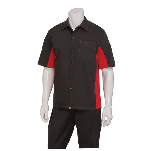 Men's Black/Red Universal Contrast Cook Shirt