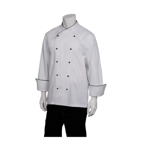 Champagne Executive Chef Jacket w/ Black Piping