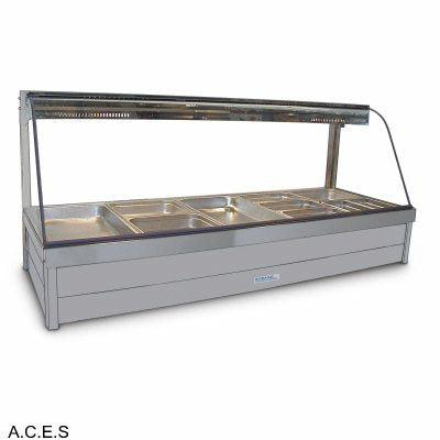 ROBAND CURVED GLASS HOT FOOD DISPLAY BARS - DOUBLE ROW - 10 Pans