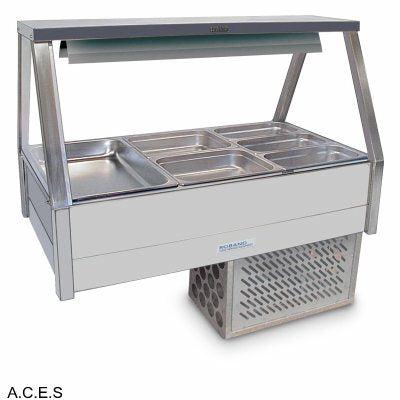 ROBAND COLD FOOD DISPLAY BARS - REFRIGERATED COLD PLATE & CROSS FIN COIL - 6 Pans
