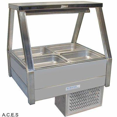ROBAND COLD FOOD DISPLAY BARS -   REFRIGERATED COLD PLATE - DOUBLE ROW - 4 Pans