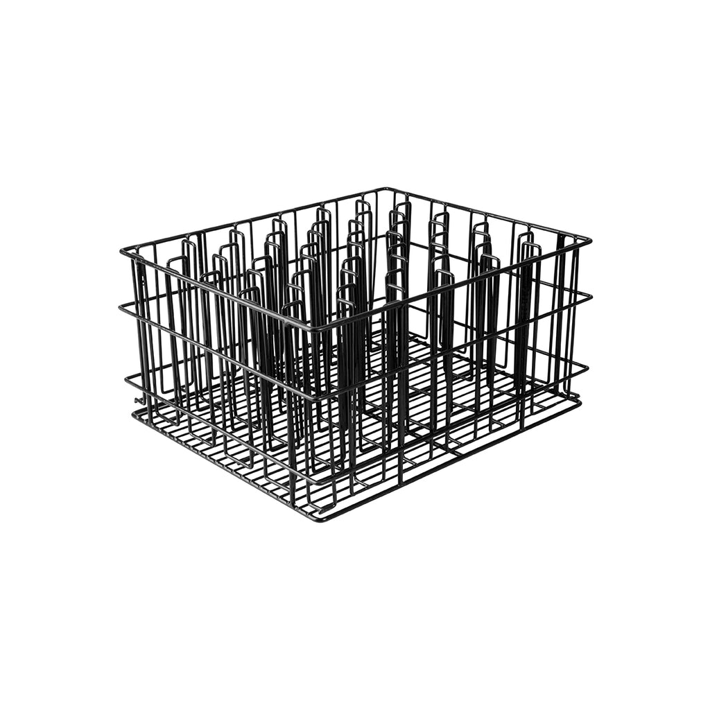 BLACK PVC -30 COMP. GLASS BASKET-430x355x215mm