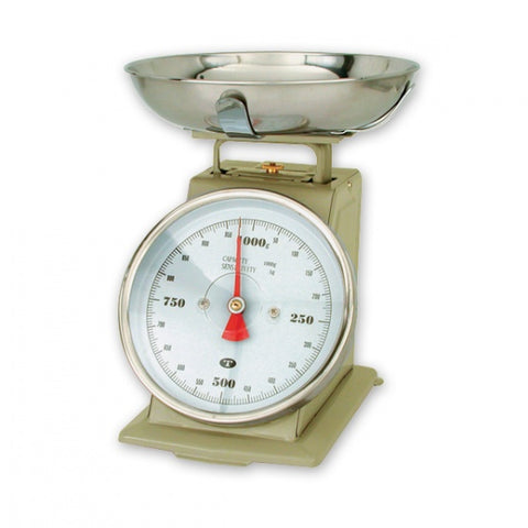 1kg x 5g-PORTION SCALE-ENAMEL BODY, W/BOWL