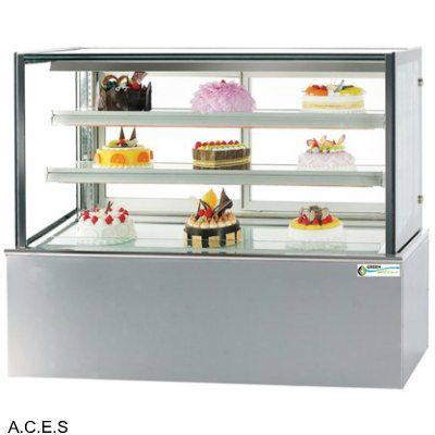 GREENLINE REFRIGERATED 3 Tier SQUARE GLASS CAKE DISPLAY 1500 mm