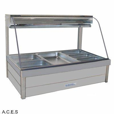 ROBAND CURVED GLASS COLD FOOD BARS - REFRIGERATED COLD PLATE & CROSS FIN COIL - DOUBLE ROW - 6 Pans