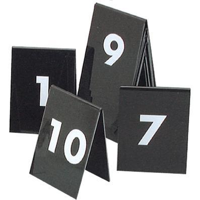 tablekraft SET OF TABLE NoS 1-10 WHITE TEXT ON BLACK 75x55mm