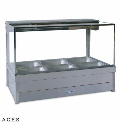 ROBAND SQUARE GLASS HOT FOOD DISPLAY BARS - DOUBLE ROW - 6 Pans