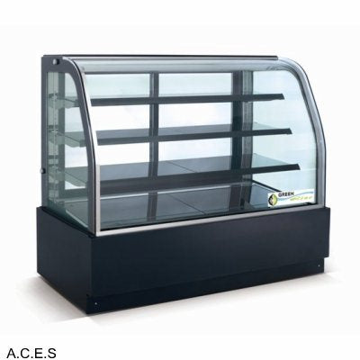 GREENLINE HEATED 4 Tier CURVED GLASS FOOD DISPLAY 900mm wide