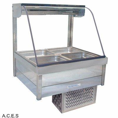 ROBAND CURVED GLASS COLD FOOD BARS - REFRIGERATED COLD PLATE ONLY - DOUBLE ROW - 4 Pans