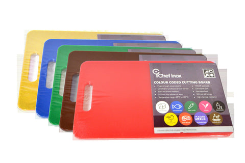 Chef Inox CUTTING BOARD PP COLOURED SET OF 5 - 300x450x12mm W/HDL