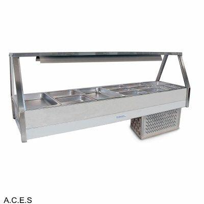 ROBAND COLD FOOD DISPLAY BARS -   REFRIGERATED COLD PLATE - DOUBLE ROW - 12 Pans