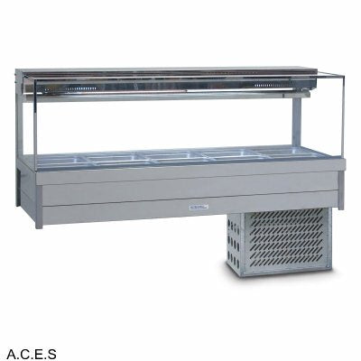 ROBAND SQUARE GLASS COLD FOOD BARS - REFRIGERATED COLD PLATE & CROSS FIN COIL - DOUBLE ROW - 6 Pans