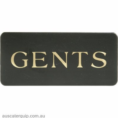 "WALL SIGN: ""Gents"" GOLD ON BLACK"