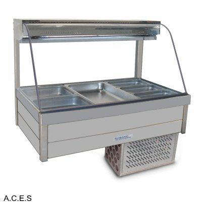 ROBAND CURVED GLASS COLD FOOD BARS - REFRIGERATED COLD PLATE & CROSS FIN COIL  DOUBLE ROW - 6 Pans