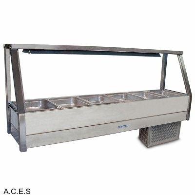 ROBAND COLD FOOD DISPLAY BARS - REFRIGERATED COLD PLATE - SINGLE ROW - 6 Pans