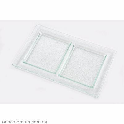 Han RECTANGLE PLATTER 2 COMP 300x200mm CLEAR