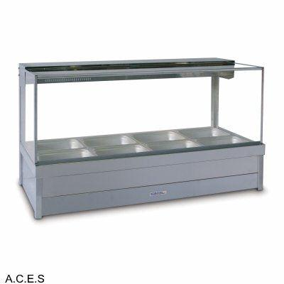 ROBAND SQUARE GLASS HOT FOOD DISPLAY BARS - DOUBLE ROW - 4 Pans
